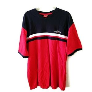 Tommy Hilfiger Collared Red Blue Tee Shirt XL